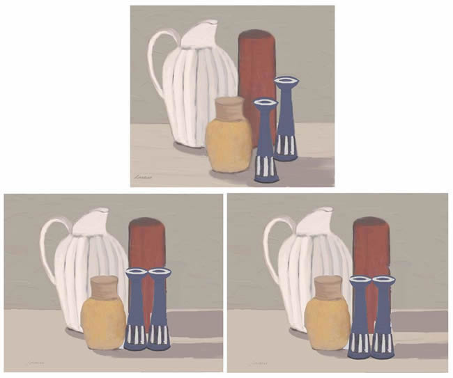 Making a still life composition more like one by Morandi
