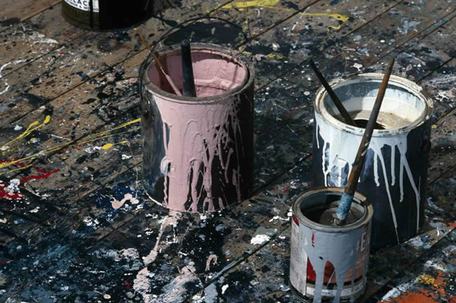Paint tins on the floor of Jackson Pollock's studio, East Hampton, New York, 1991